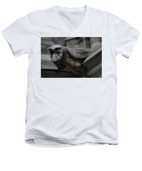 Men's V-Neck T-Shirt featuring the photograph Winged Gargoyle by Christopher Kirby