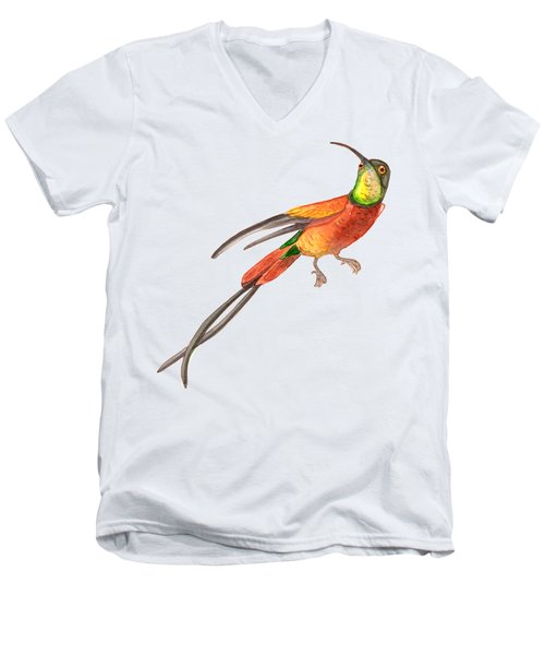 Men's V-Neck T-Shirt featuring the painting Winged Jewel 6, Watercolor Tropical Rainforest Hummingbird Red, Yellow, Orange And Green by Audrey Jeanne Roberts