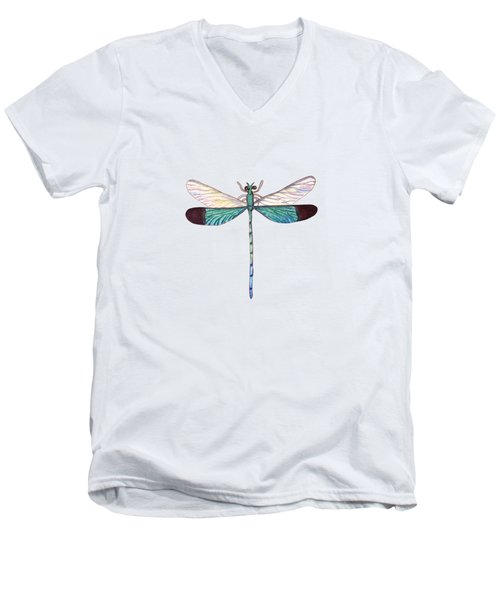 Men's V-Neck T-Shirt featuring the painting Winged Jewels 1, Watercolor Tropical Dragonfly Aqua Blue Black by Audrey Jeanne Roberts