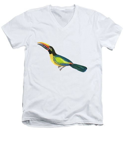 Winged Jewels 2, Watercolor Toucan Rainforest Birds Men's V-Neck T-Shirt