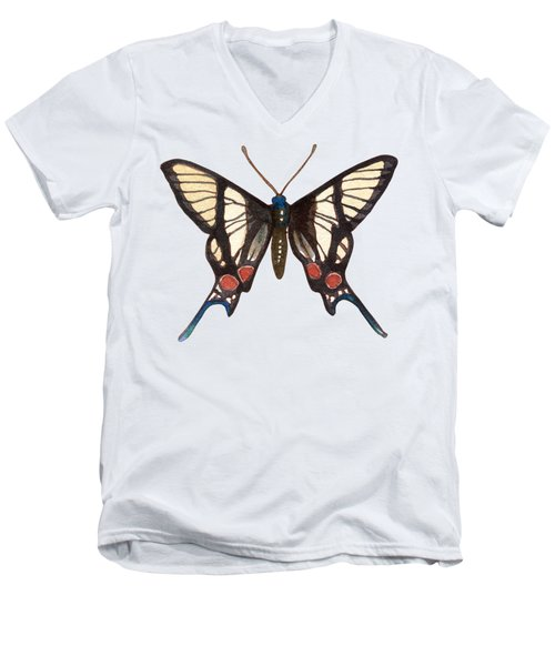 Men's V-Neck T-Shirt featuring the painting Winged Jewels 4, Watercolor Tropical Butterflie Black White Red Spots by Audrey Jeanne Roberts