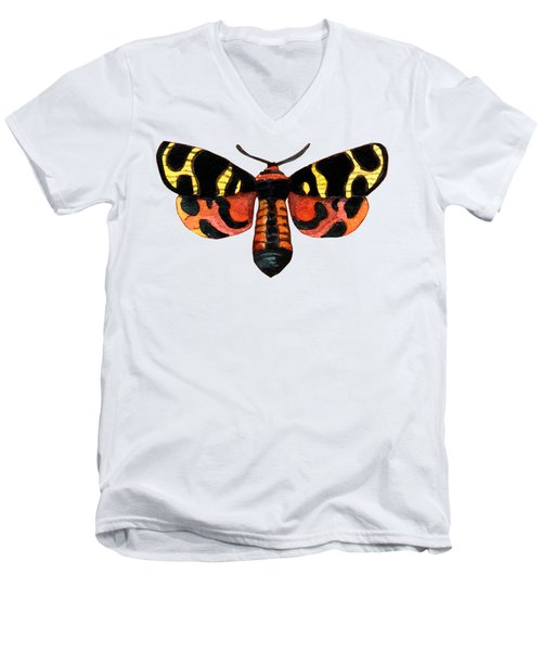 Men's V-Neck T-Shirt featuring the painting Winged Jewels 5, Watercolor Moth Black Yellow Orange And Red Tropical by Audrey Jeanne Roberts