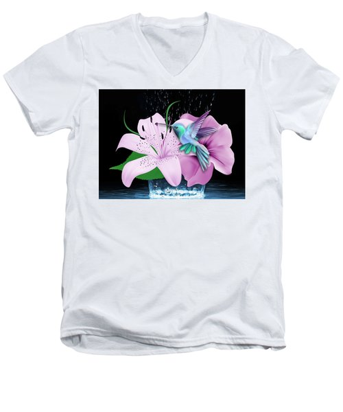 Men's V-Neck T-Shirt featuring the mixed media Winging It Hummingbird by Marvin Blaine