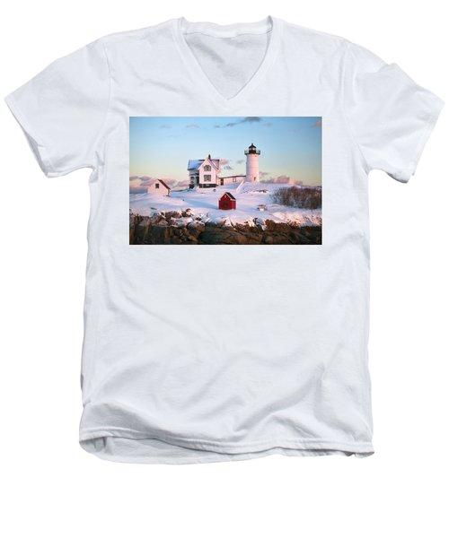 Winter At Nubble Men's V-Neck T-Shirt