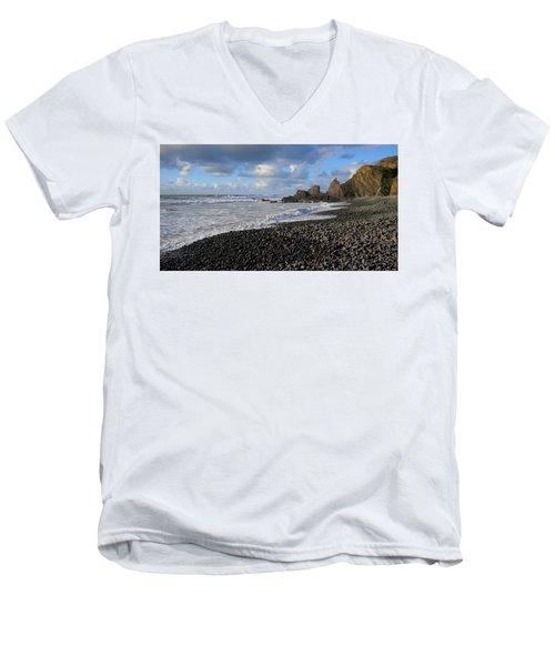 Winter At Sandymouth Men's V-Neck T-Shirt by Richard Brookes
