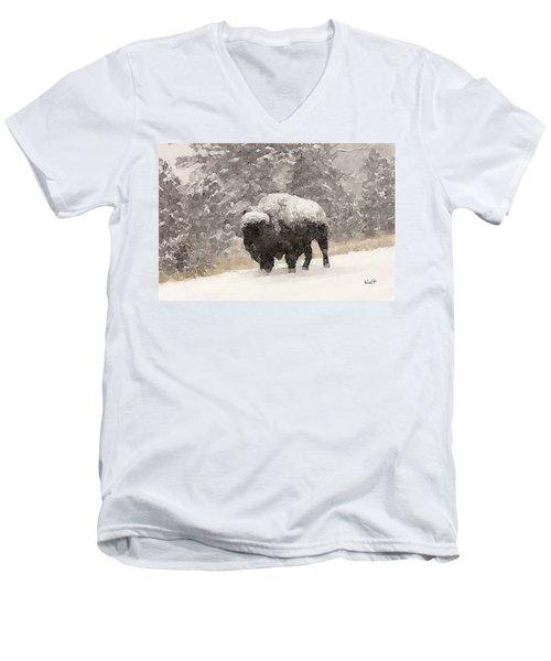 Men's V-Neck T-Shirt featuring the digital art Winter Bison by Walter Chamberlain