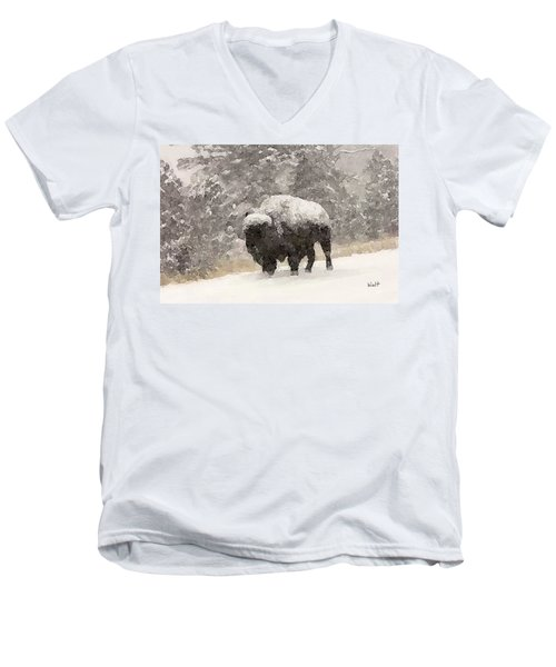 Winter Bison Men's V-Neck T-Shirt