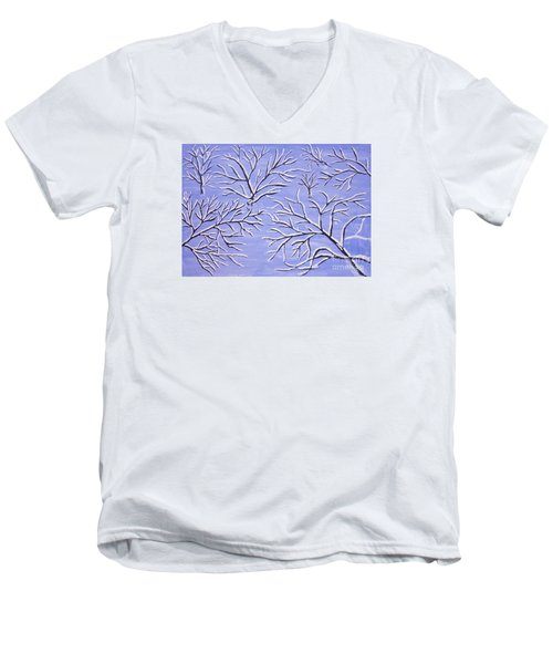 Winter Branches, Painting Men's V-Neck T-Shirt