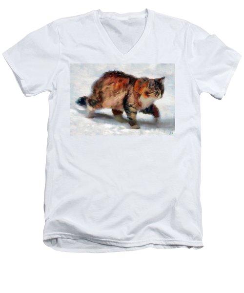 Winter Cat Men's V-Neck T-Shirt by Sergey Lukashin