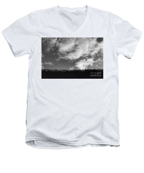 Winter Clouds Over The Delaware River Men's V-Neck T-Shirt