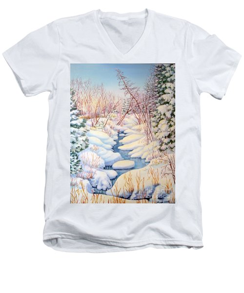 Men's V-Neck T-Shirt featuring the painting Winter Creek 1  by Inese Poga