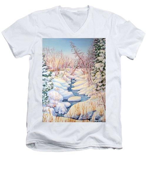 Winter Creek 1  Men's V-Neck T-Shirt by Inese Poga