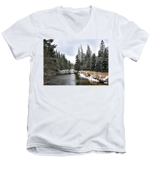 Winter Creek In Adirondack Park - Upstate New York Men's V-Neck T-Shirt by Brendan Reals