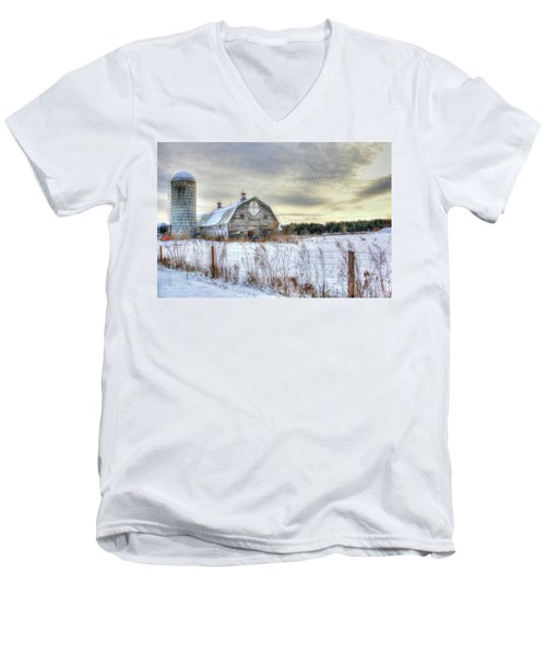 Men's V-Neck T-Shirt featuring the digital art Winter Days In Vermont by Sharon Batdorf