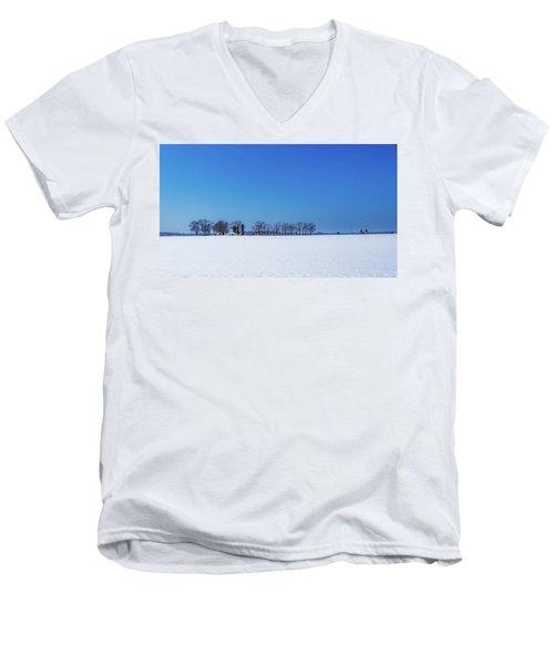 Winter Farm Blue Sky Men's V-Neck T-Shirt
