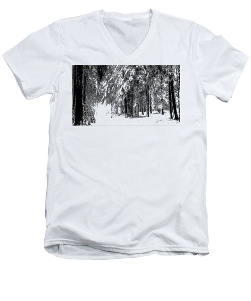 Winter Forest Bw - Cross Hatching Men's V-Neck T-Shirt