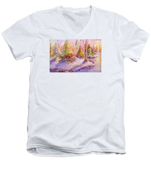 Men's V-Neck T-Shirt featuring the painting Winter Forest  by Patricia Schneider Mitchell