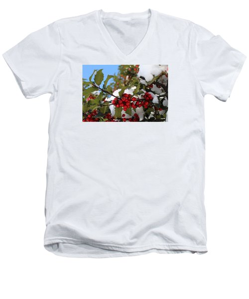 Winter Holly Men's V-Neck T-Shirt