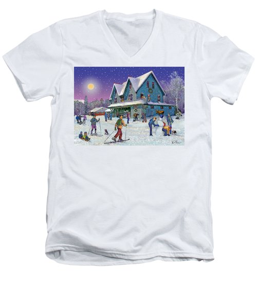 Winter In Campton Village Men's V-Neck T-Shirt by Nancy Griswold
