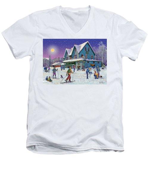 Winter In Campton Village Men's V-Neck T-Shirt