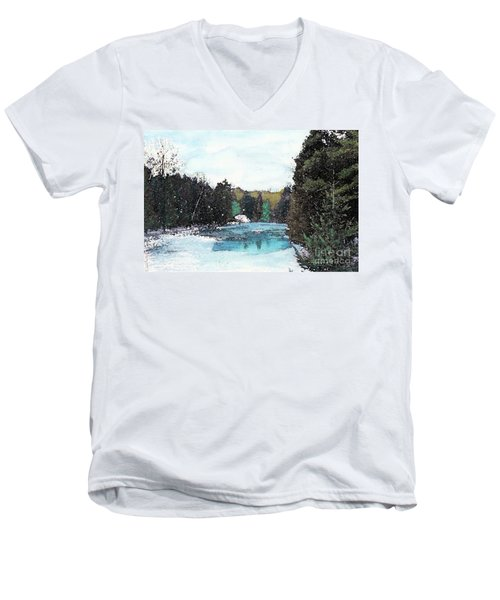 Men's V-Neck T-Shirt featuring the mixed media Winter In Kalkaska by Desiree Paquette