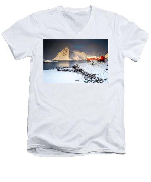 Winter In Lofoten Men's V-Neck T-Shirt by Alex Conu