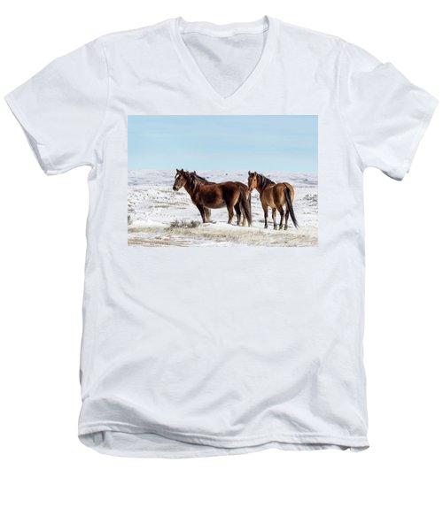Winter In Sand Wash Basin - Wild Mustangs Men's V-Neck T-Shirt