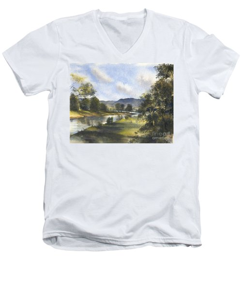 Men's V-Neck T-Shirt featuring the painting Winter In The Bellinger Valley by Sandra Phryce-Jones