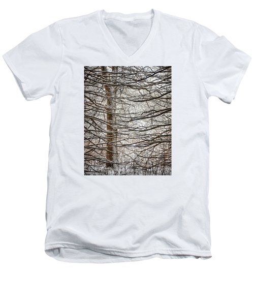 Men's V-Neck T-Shirt featuring the photograph Winter In The Woods by Nikki McInnes
