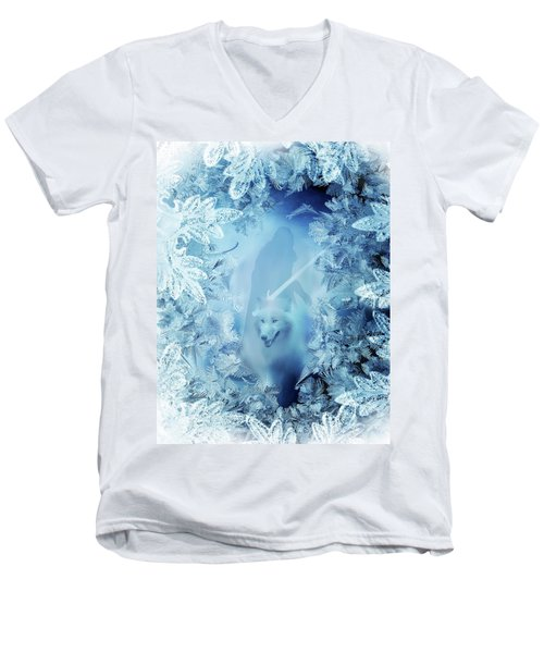 Winter Is Here - Jon Snow And Ghost - Game Of Thrones Men's V-Neck T-Shirt by Lilia D