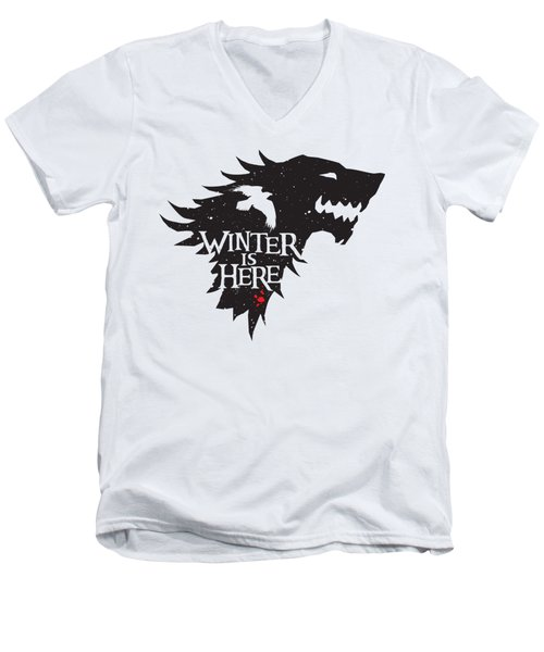 Winter Is Here Men's V-Neck T-Shirt by Edward Draganski