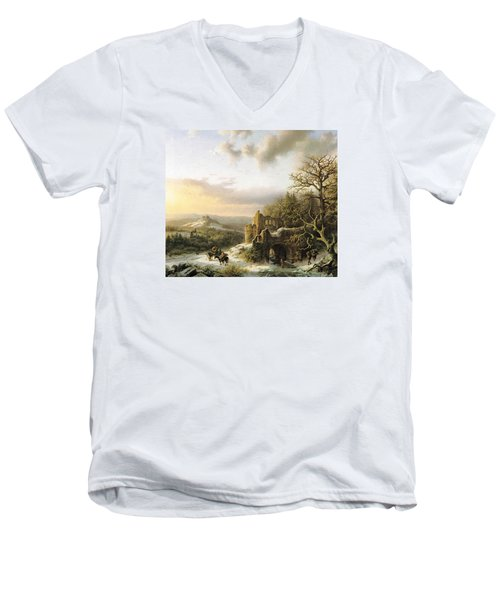 Winter Landscape With Peasants Gathering Wood Men's V-Neck T-Shirt by Reynold Jay