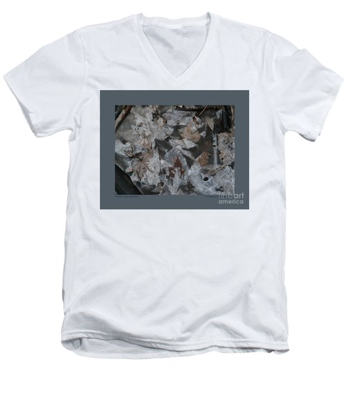 Men's V-Neck T-Shirt featuring the photograph Winter Leaf Abstract-i by Patricia Overmoyer