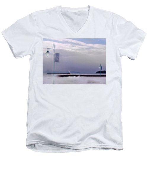 Winter Lights To Rock Point Digital Painting Of Evening Sentries At The Coast Guard Station Men's V-Neck T-Shirt