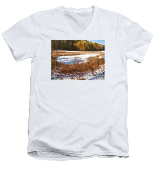 Winter Marsh Men's V-Neck T-Shirt by Betsy Zimmerli