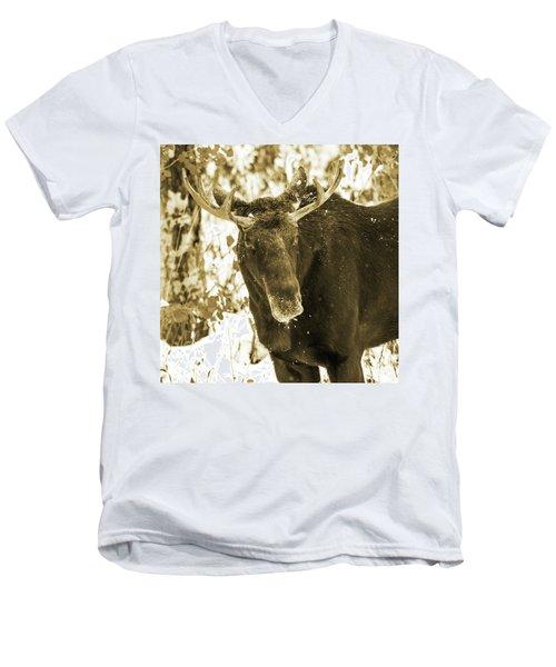Winter Moose - Sepia Men's V-Neck T-Shirt
