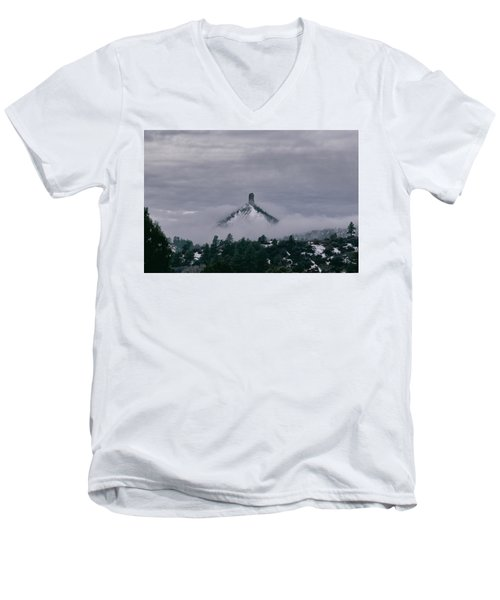 Winter Morning Fog Envelops Chimney Rock Men's V-Neck T-Shirt by Jason Coward