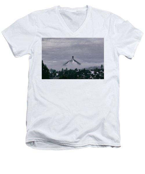Winter Morning Fog Envelops Chimney Rock Men's V-Neck T-Shirt