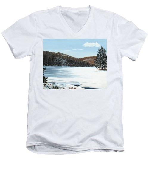 Winter On An Ontario Lake  Men's V-Neck T-Shirt