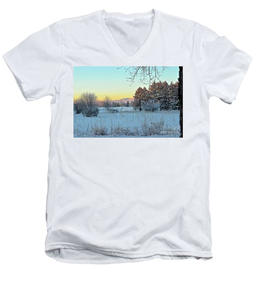 Winter On The Tree Farm Men's V-Neck T-Shirt