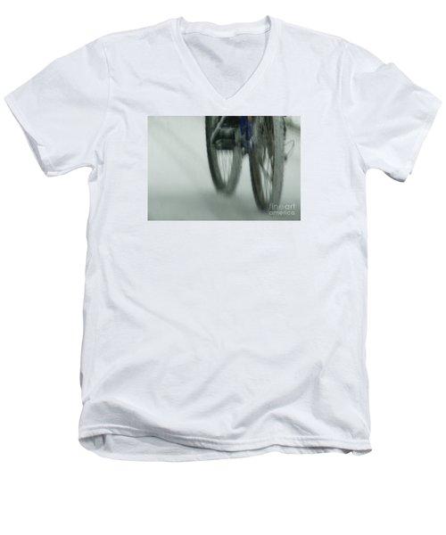 Winter Ride Men's V-Neck T-Shirt by Linda Shafer