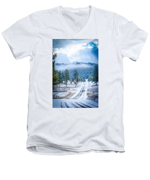Men's V-Neck T-Shirt featuring the photograph Winter Road by Jason Smith