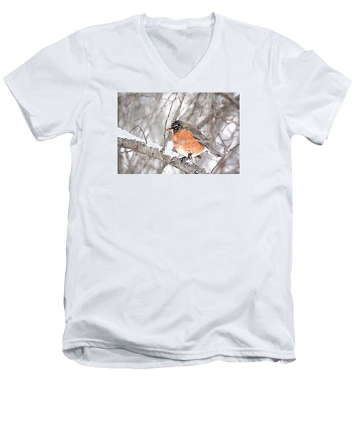 Men's V-Neck T-Shirt featuring the photograph Winter Robin by Trina Ansel