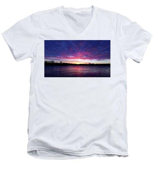 Winter Sunrise On The Wisconsin River Men's V-Neck T-Shirt by Brook Burling