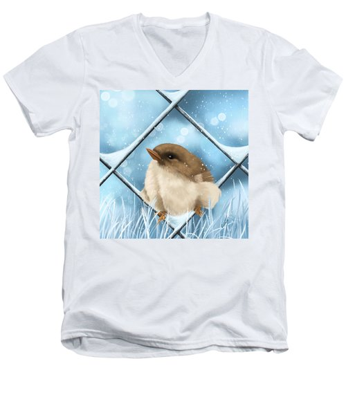 Men's V-Neck T-Shirt featuring the painting Winter Sweetness  by Veronica Minozzi