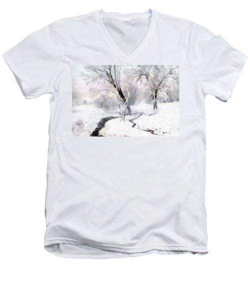 Winter Trees Men's V-Neck T-Shirt by Francesa Miller