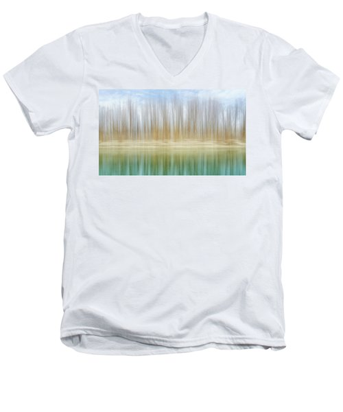 Winter Trees On A River Bank Reflecting Into Water Men's V-Neck T-Shirt