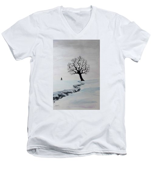 Men's V-Neck T-Shirt featuring the painting Winter Trek by Jack G Brauer