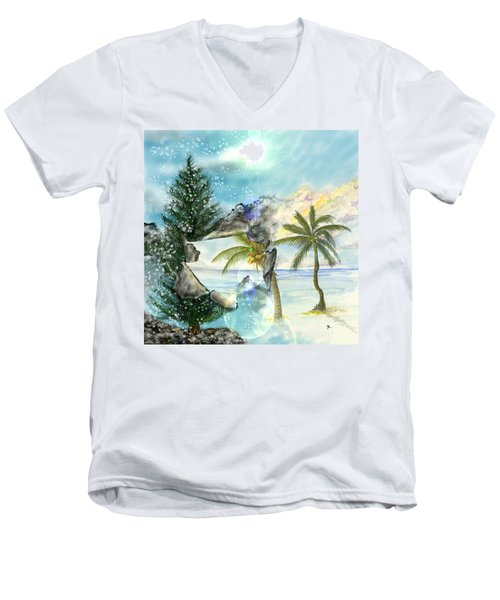 Men's V-Neck T-Shirt featuring the digital art Winter Vacation by Darren Cannell