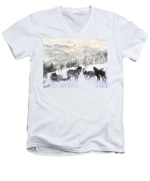 Winter Wolves Men's V-Neck T-Shirt